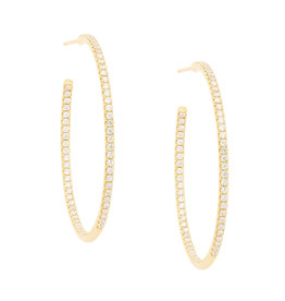 Sara Weinstock Sara Weinstock Veena Pavé Hoop Earrings (Color: Yellow Gold)