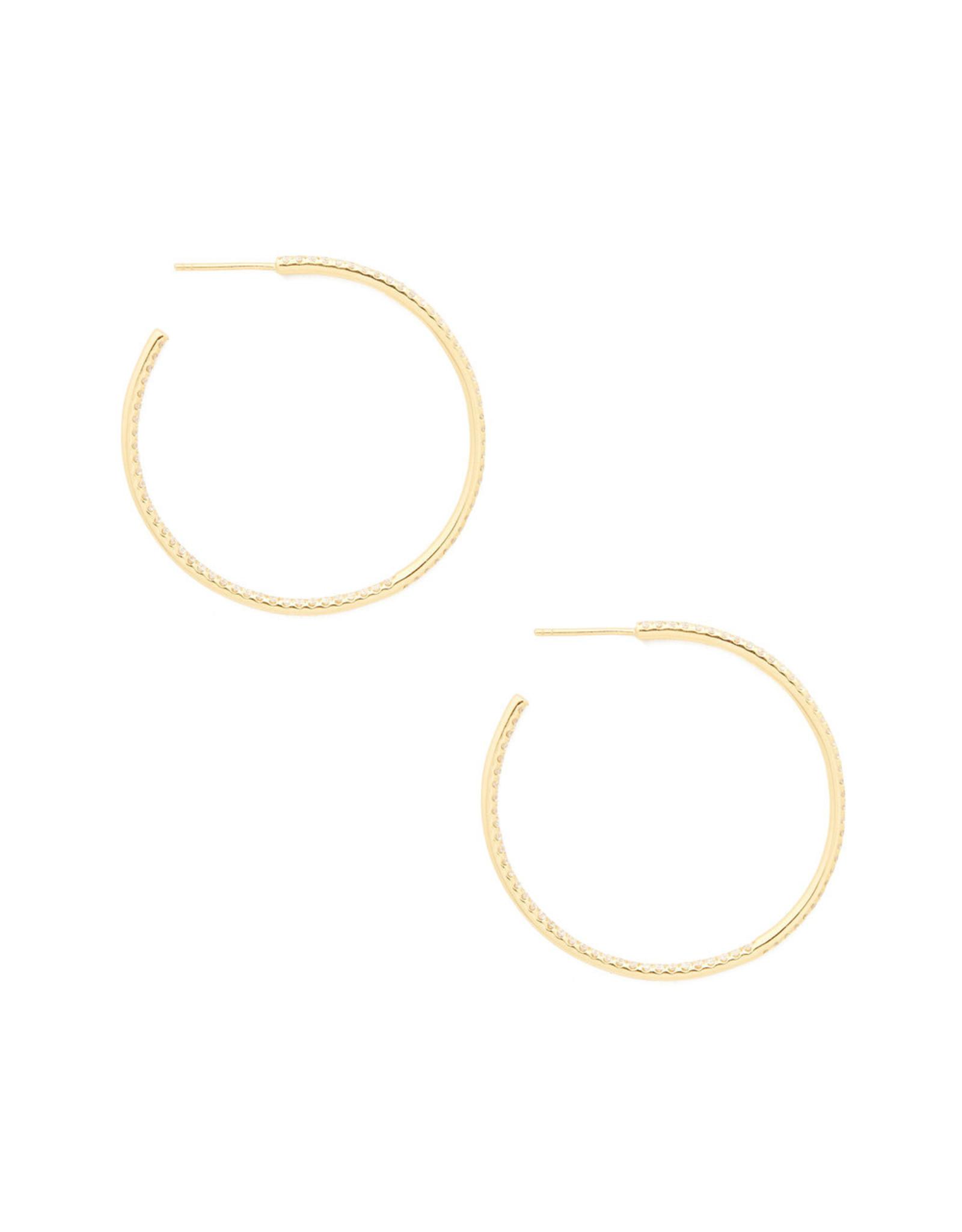 Sara Weinstock Sara Weinstock Veena Pavé Hoop Earrings (Color: Yellow Gold)