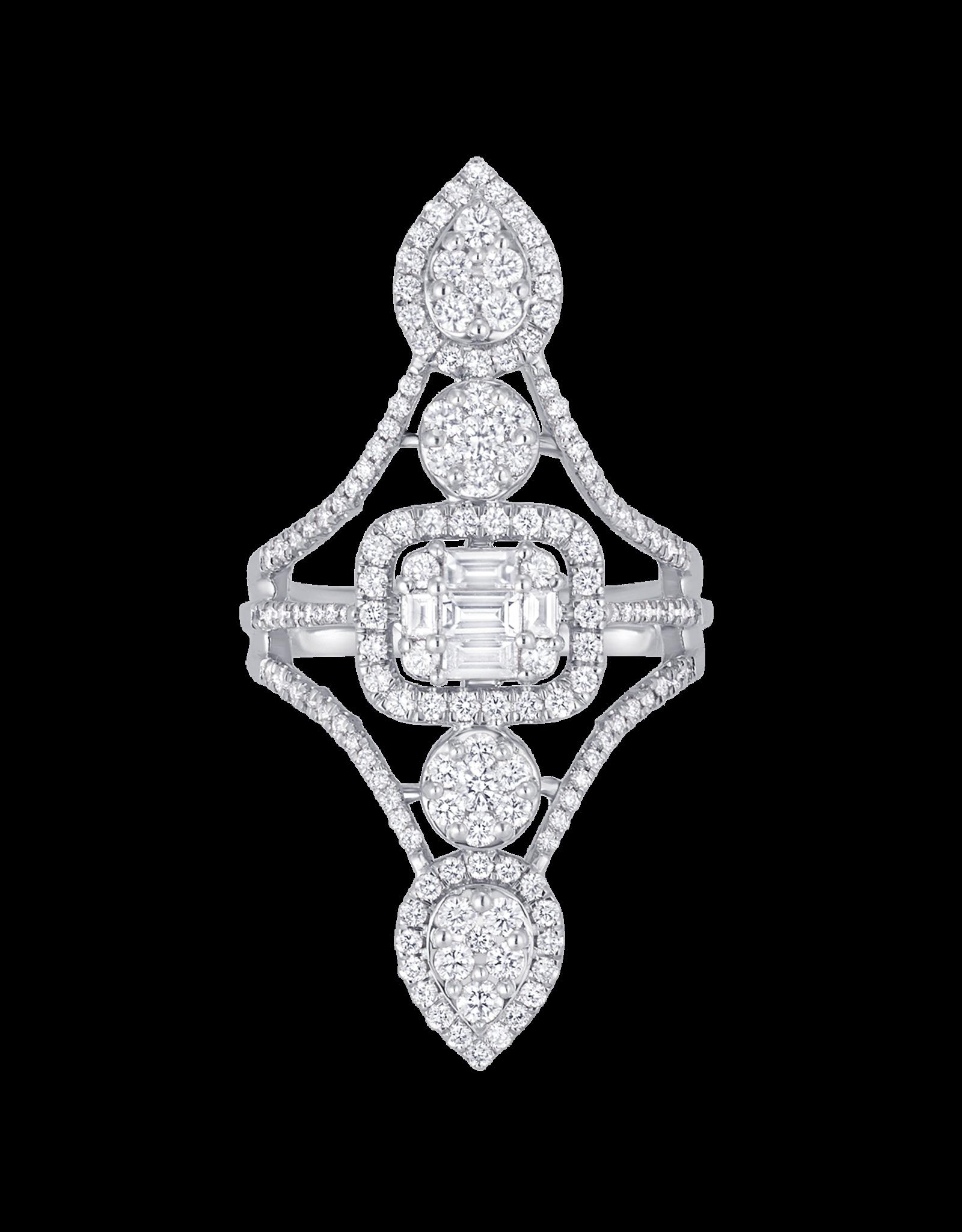 Sara Weinstock Sara Weinstock Illusion 5 Cluster Vertical Ring - White Gold (Size: 7)