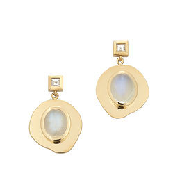 Azlee Azlee Modern Byzantine Moonstone & Diamond Coin Earrings - Yellow Gold / Moonstone
