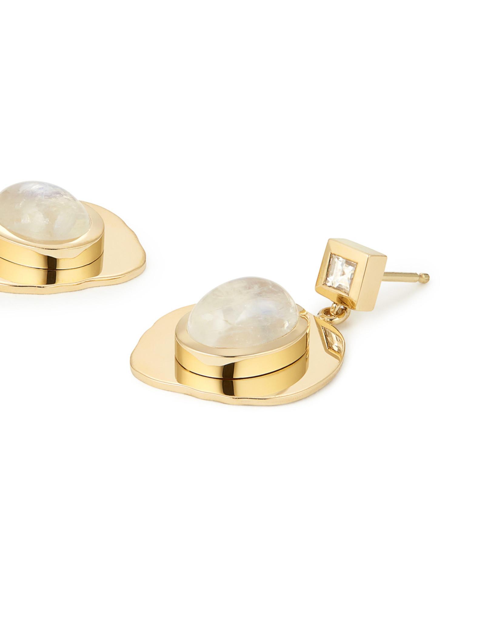 Azlee Azlee Modern Byzantine Moonstone & Diamond Coin Earrings - Yellow Gold / Moonstone