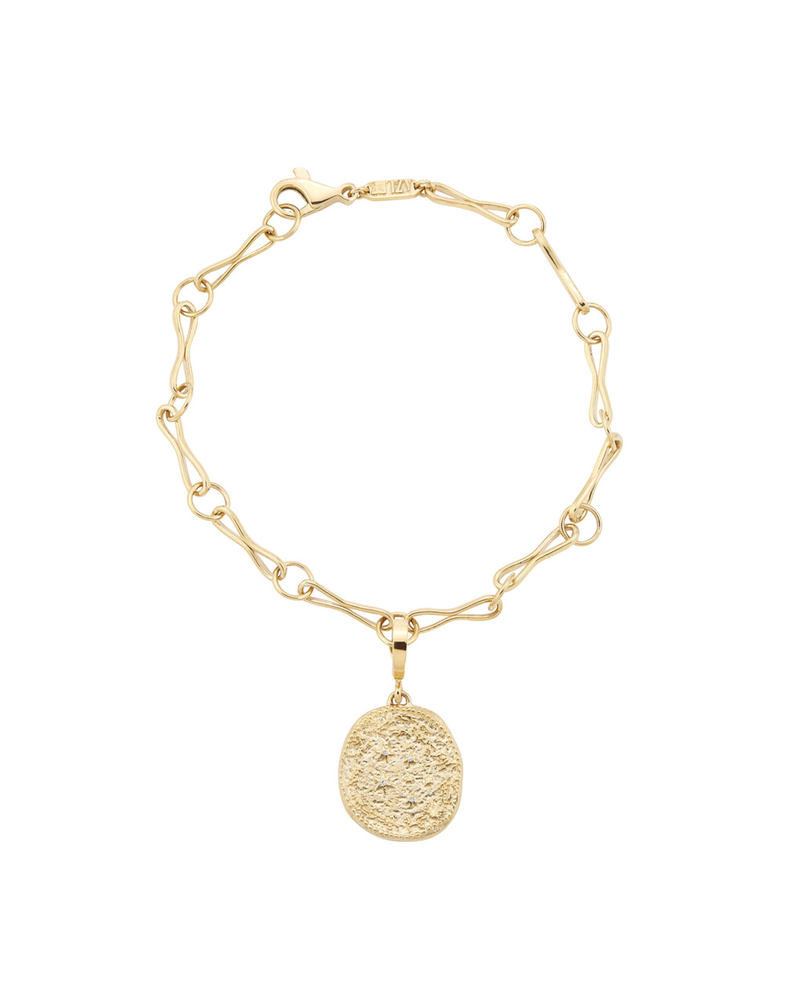 Azlee Azlee Handmade Link Bracelet with Zodia Wheel Coin -Yellow Gold / White Diamond