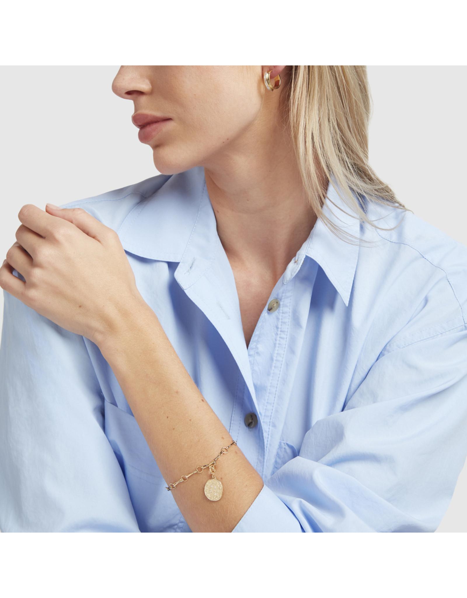 Azlee Azlee Handmade Link Bracelet with Zodia Wheel Coin -Yellow Gold / White Diamond