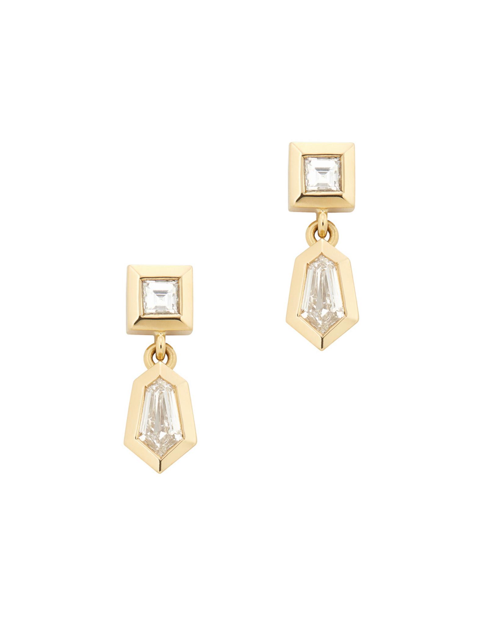 Azlee Azlee Dangle Rare Cut Earrings - Yellow Gold / White Diamond