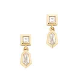 Azlee Azlee Dangle Rare Cut Earrings - Yellow Gold / White Diamond