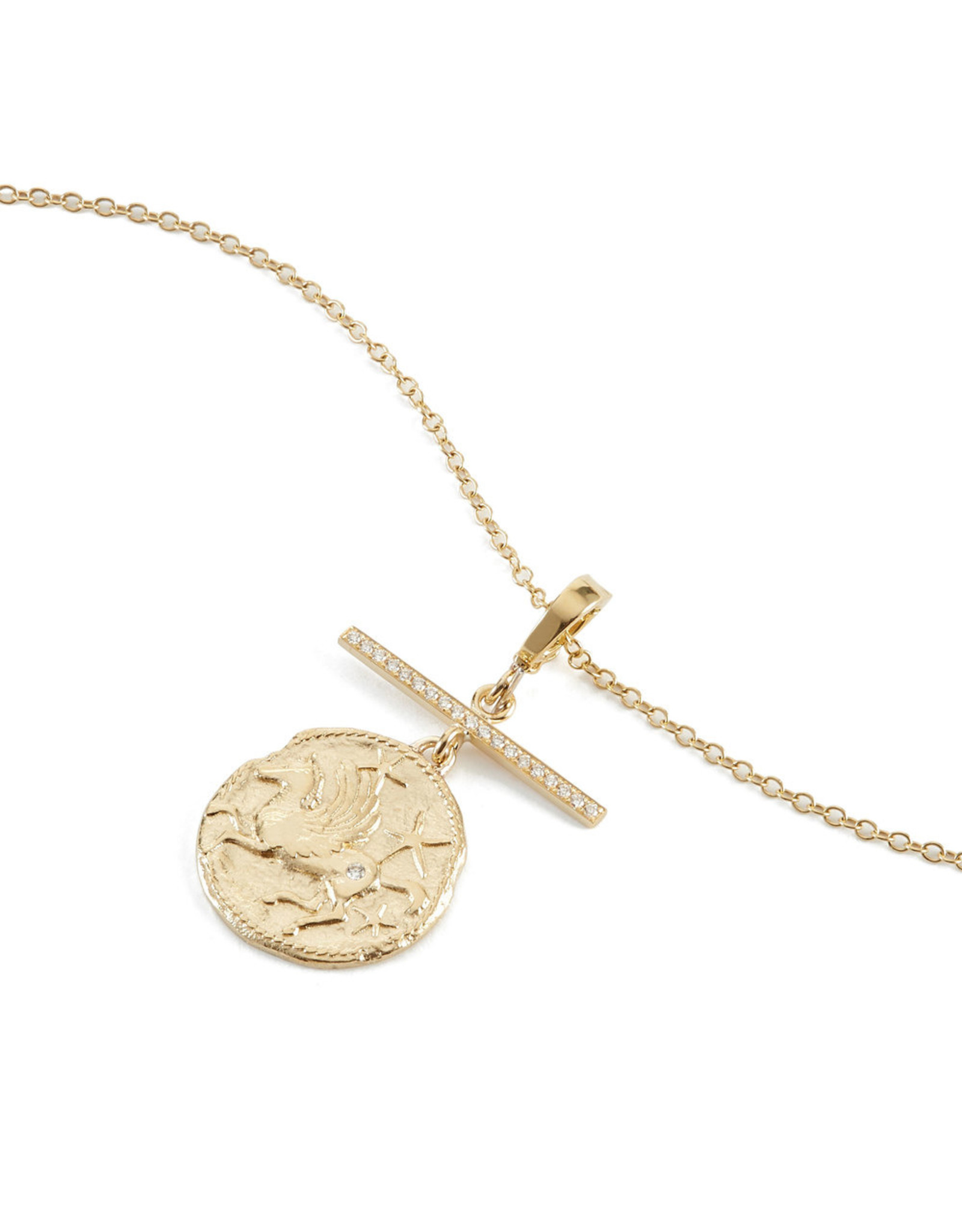 Azlee Azlee Pegasus Coin With Diamond Bar Necklace (Color: Yellow Gold / Diamond)