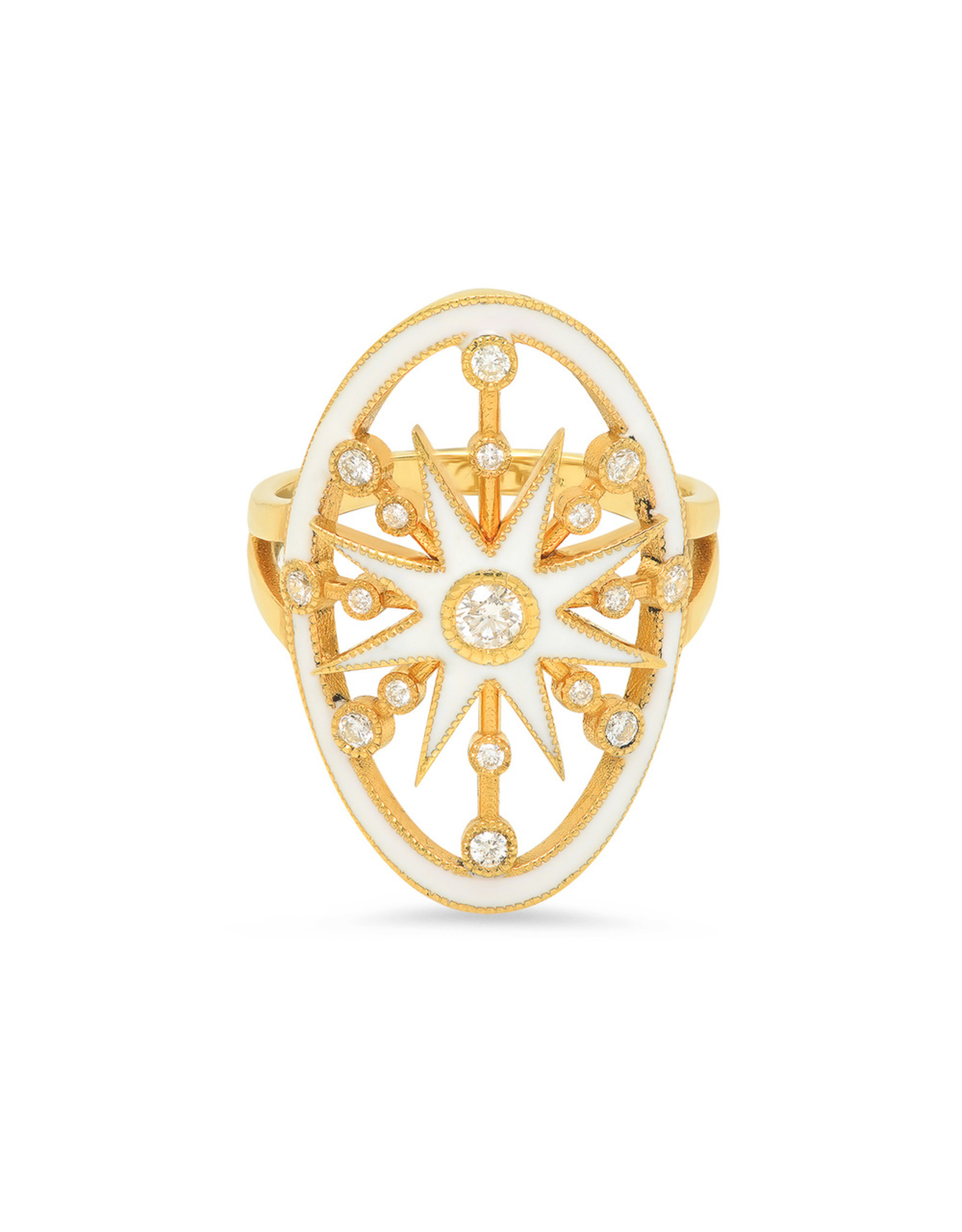Colette Jewelry Colette White Enamel Star Ring (Color: Yellow Gold / White, Size: 6.5)