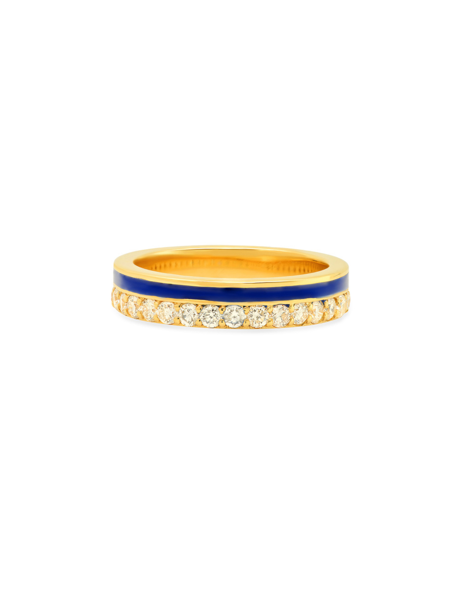 Colette Jewelry Colette Galaxia Enamel Diamond Ring (Color: Yellow Gold / Blue, Size: 6.5)