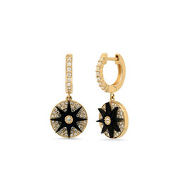 Colette Jewelry Colette Galaxia Enamel Star Huggie Earrings (Color: Yellow Gold / Black)