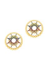 Colette Jewelry Colette Galaxia Multi-Colored Earring (Color: Yellow Gold / Sapphire Orange)
