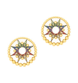 Colette Jewelry Colette Galaxia Multi-Colored Earring (Color: Yellow Gold / Sapphire Orange)