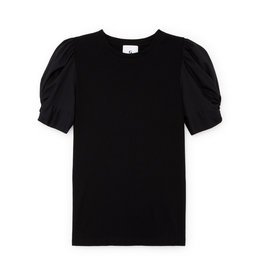 G. Label G. Label Christopher Puff-Sleeve Poplin T-Shirt (Color: Black, Size:2)