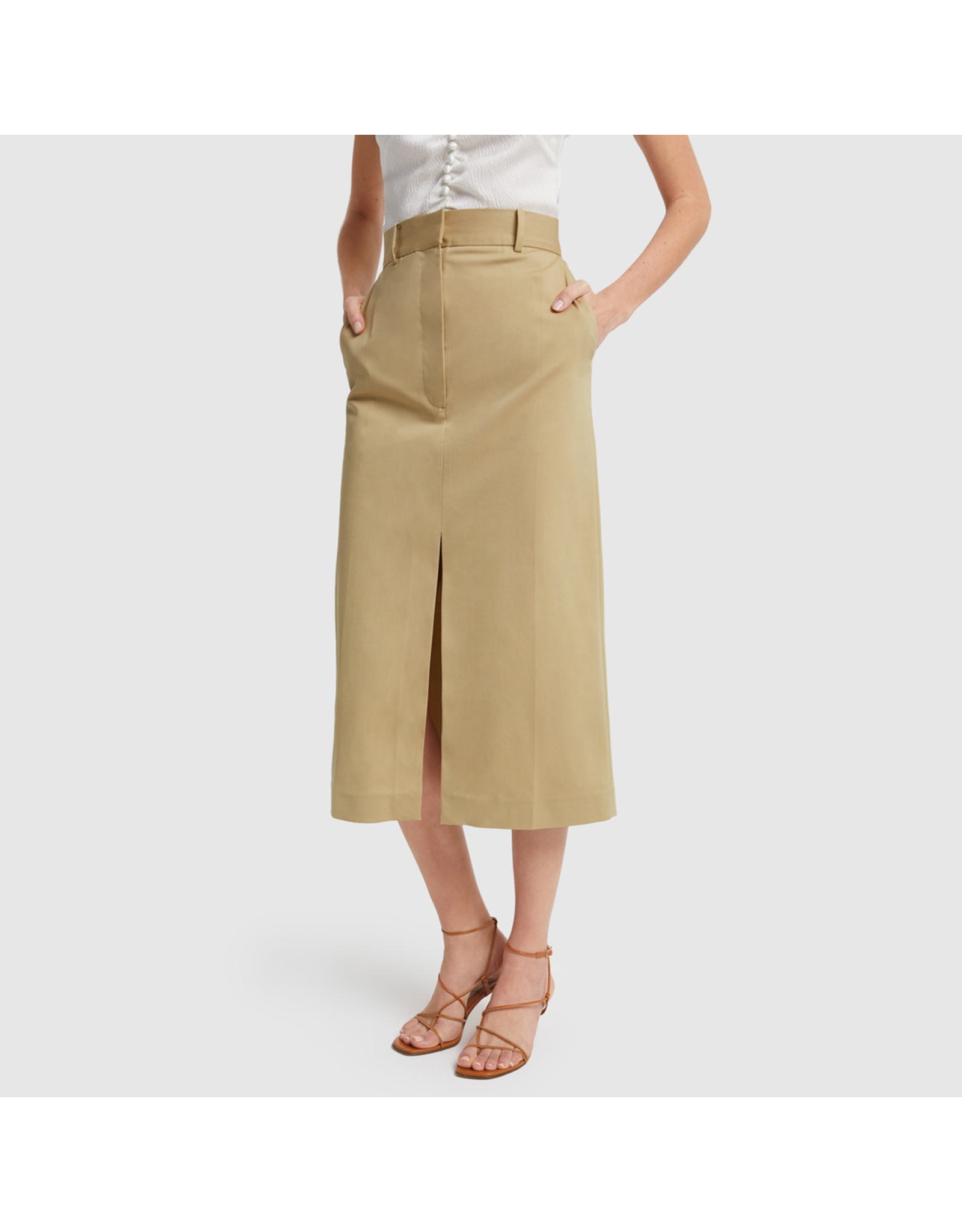 G. Label G. Label Alexandra Slit Trouser Skirt (Size: 10, Color: Khaki)