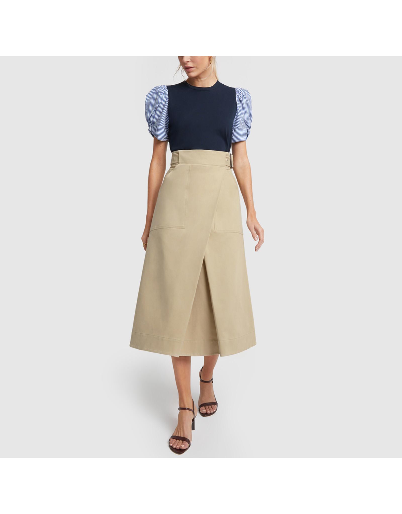 G. Label G. Label Hall Cotton Wrap Skirt (Size: 8, Color: Khaki)