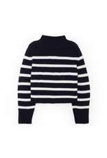G. Label G. Label Lucy Striped Funnel-Neck Sweater (Color: Navy/White, Size: S)