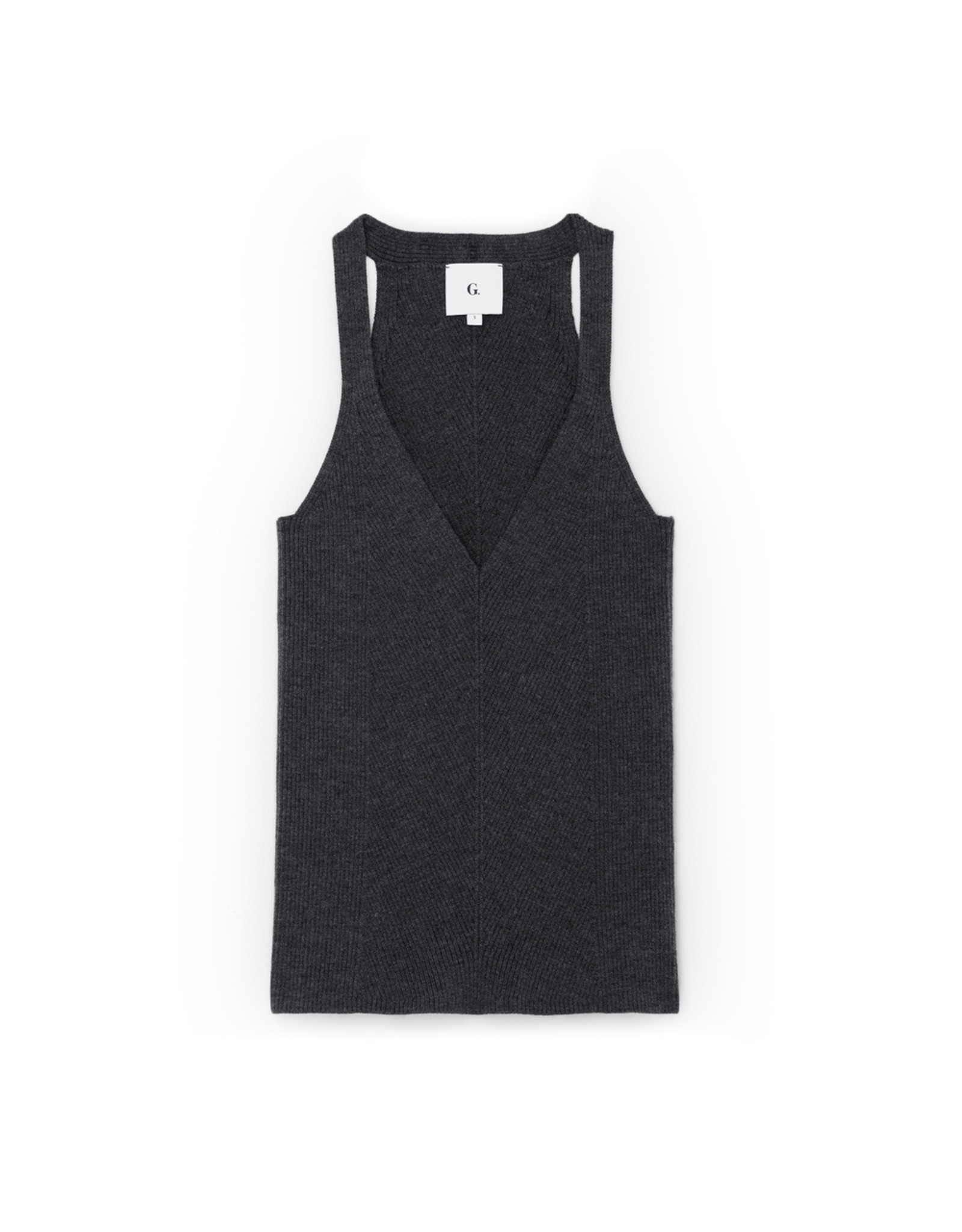 G. Label G. Label Samantha Engineered-Rib Tank (Color: Charcoal, Size: S)