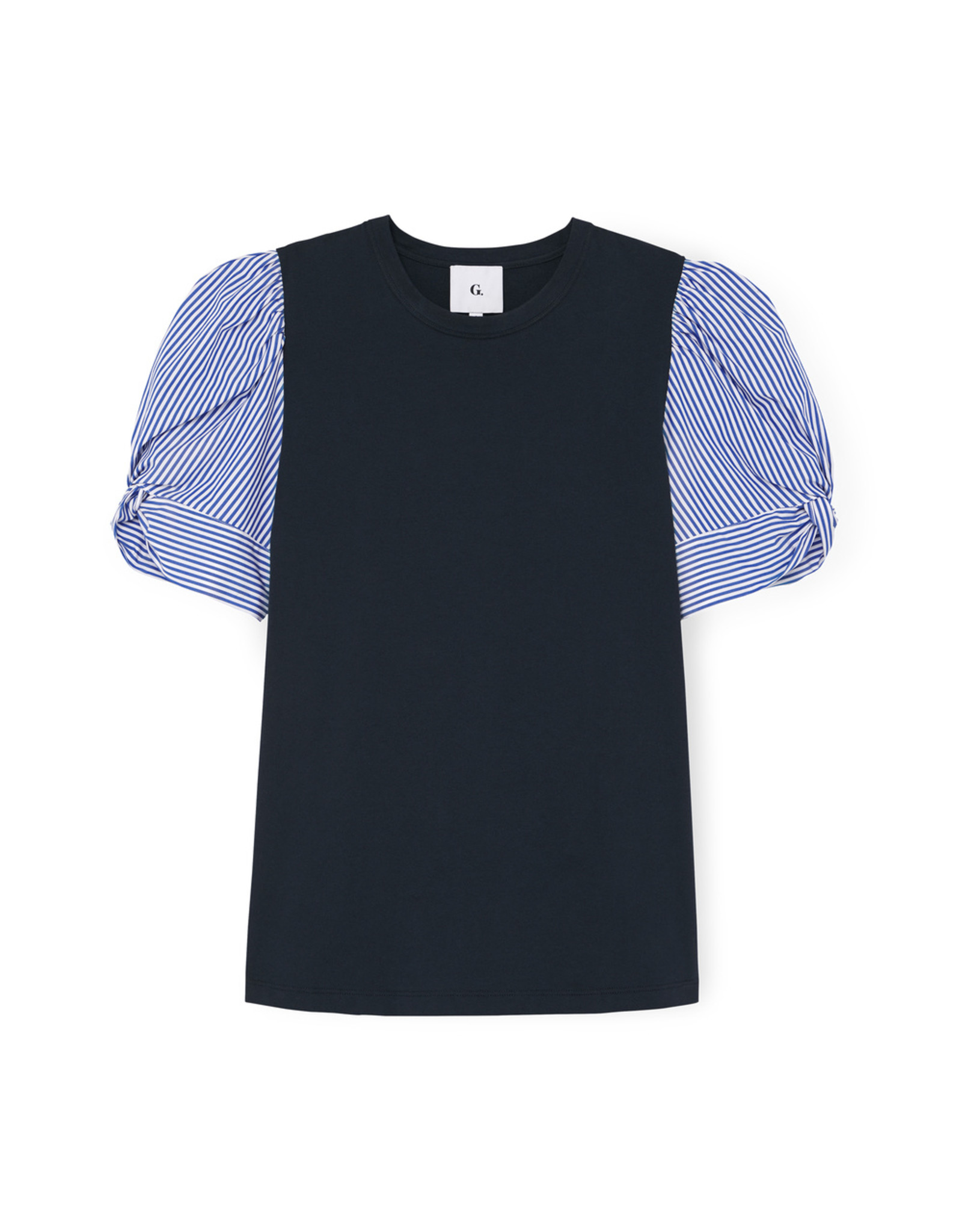 G. Label G. Label Justine Puff Sleeve T-Shirt (Size: 0, Color: Navy/Stripe)