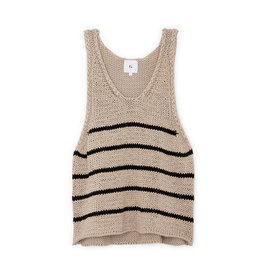 G. Label Eric Chunky Knit Tank Top (Color: Khaki/Black Stripe, Size: L)