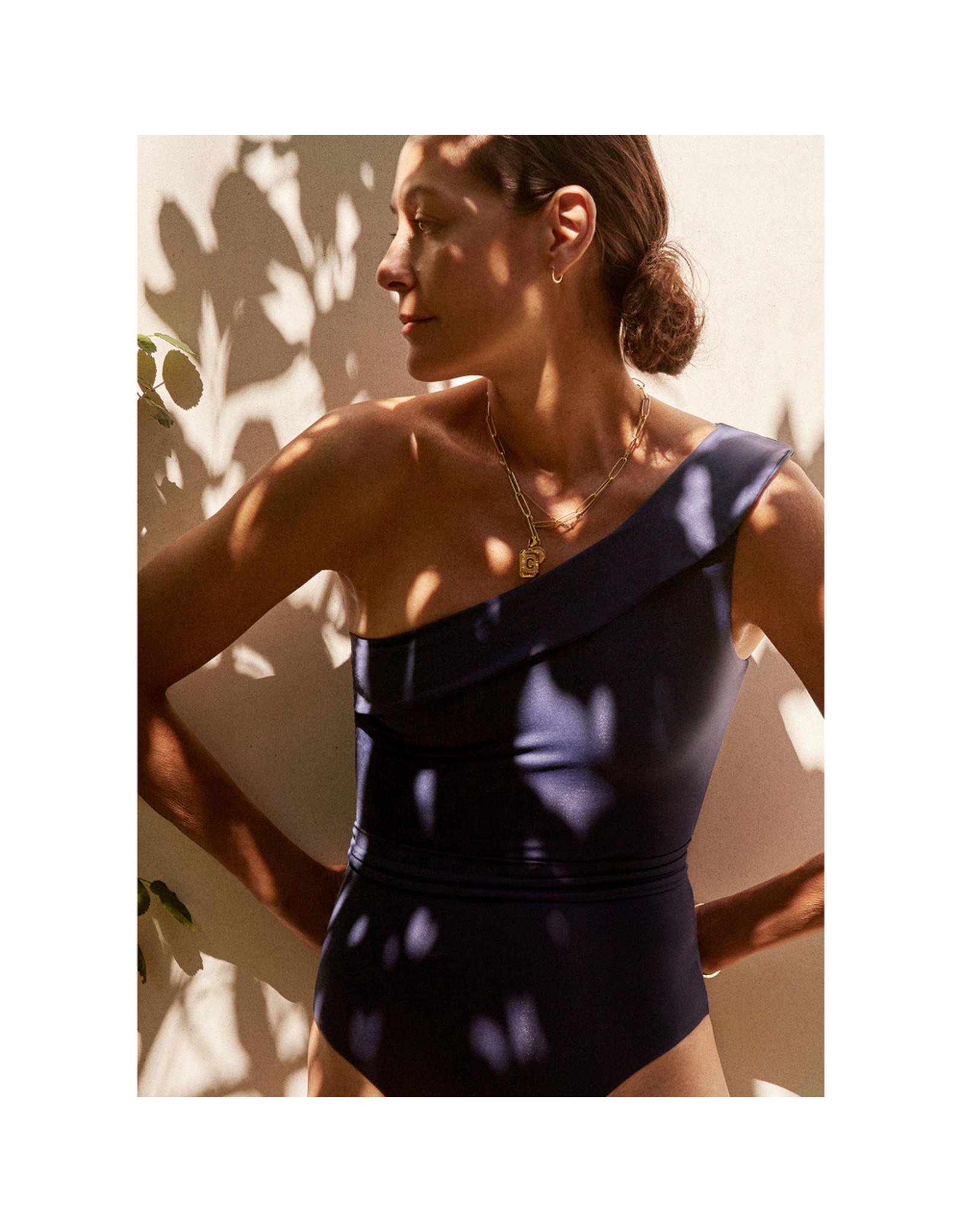 G. Label G. Label One-Shoulder Belted One-Piece (Color: Black, Size: M)