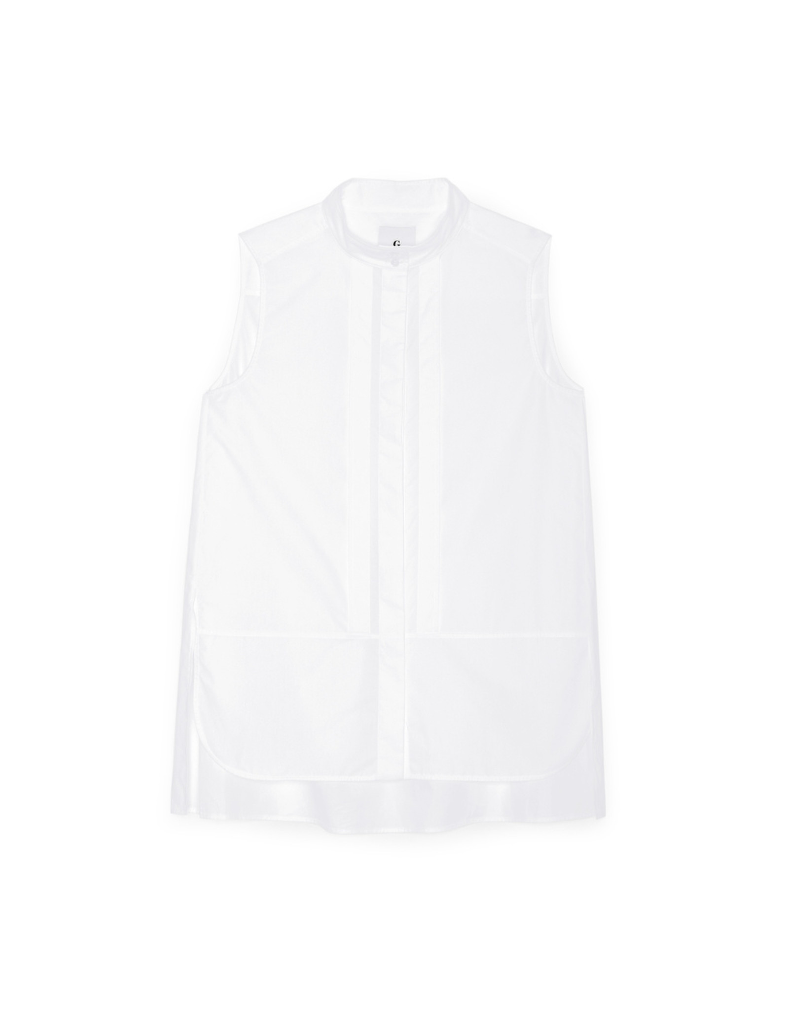 G. Label G. Label Casey Pleat Collar Shirt (Color: White, Size: 8)