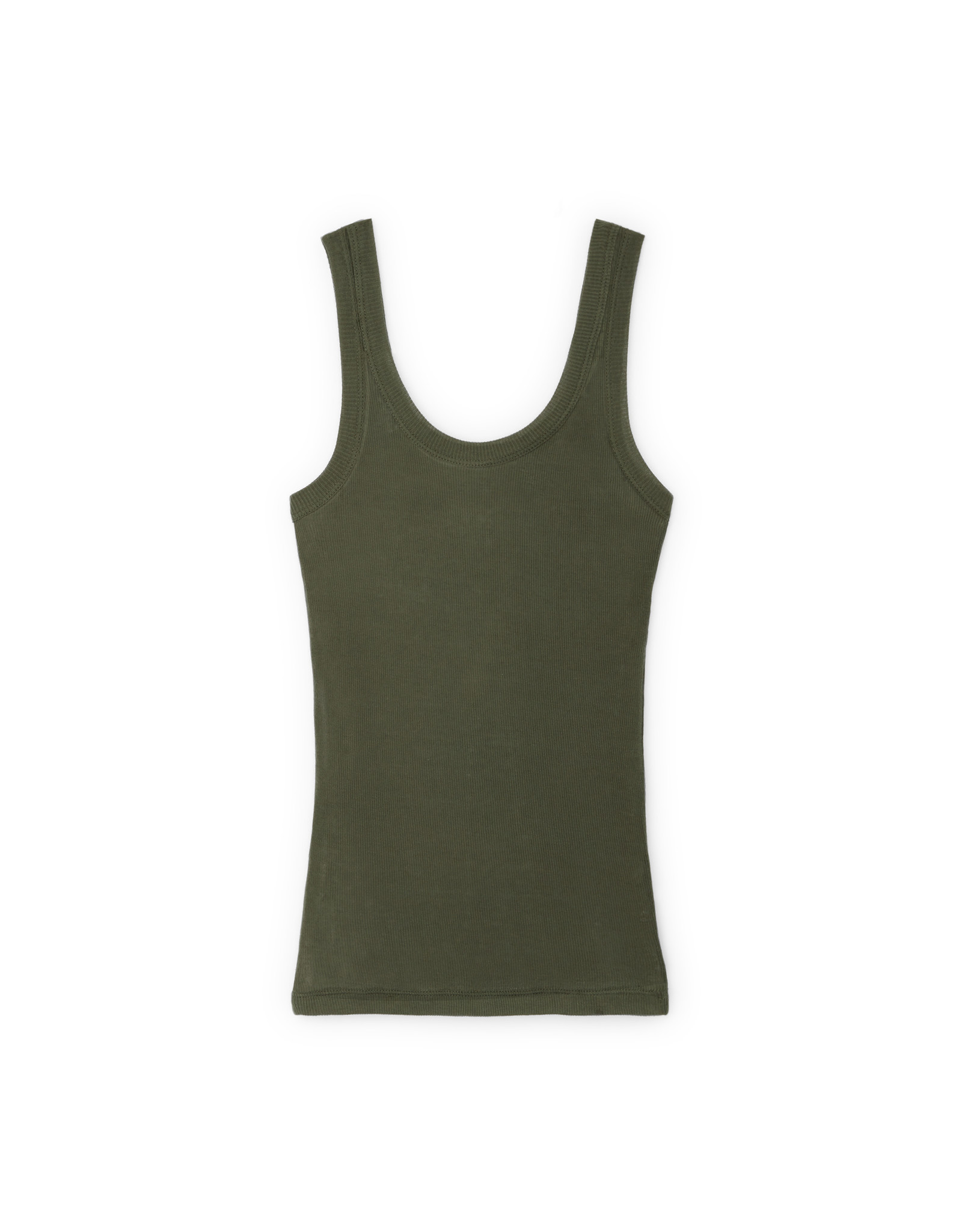 G. Label G. Label Lee Rib Tank (Color: Army Green, Size:XS)