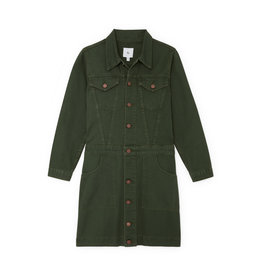 G. Label G. Label Bishop Jean Jacket Dress (Color: Army Green, Size:L)
