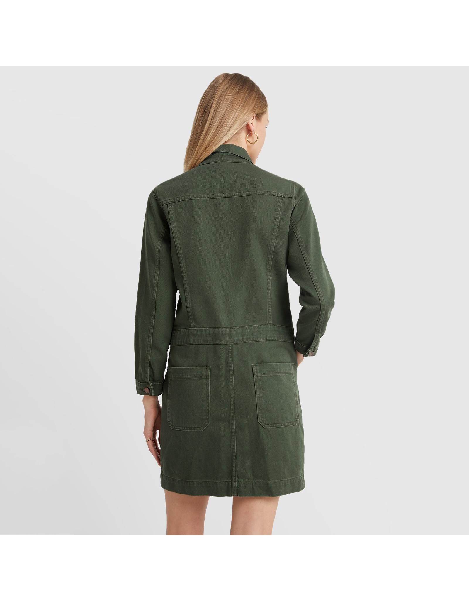 G. Label G. Label Bishop Jean Jacket Dress (Color: Army Green, Size:L)