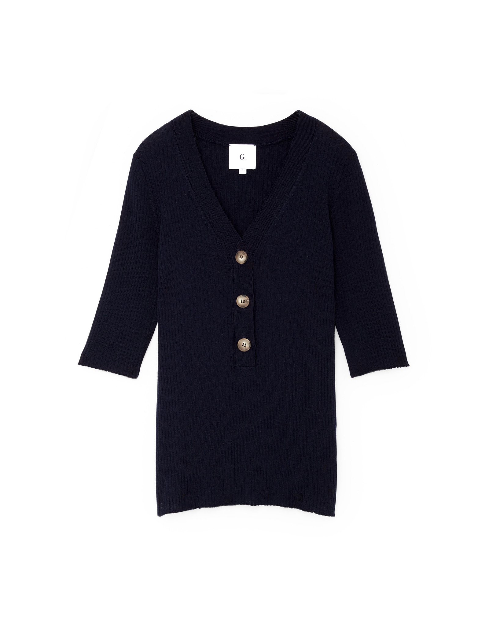 G. Label G. Label Nate Mid-Sleeve Rib Henley (Color: Navy, Size: XS)