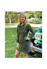 G. Label G. Label Bishop Jean Jacket Dress (Color: Army Green, Size:S)
