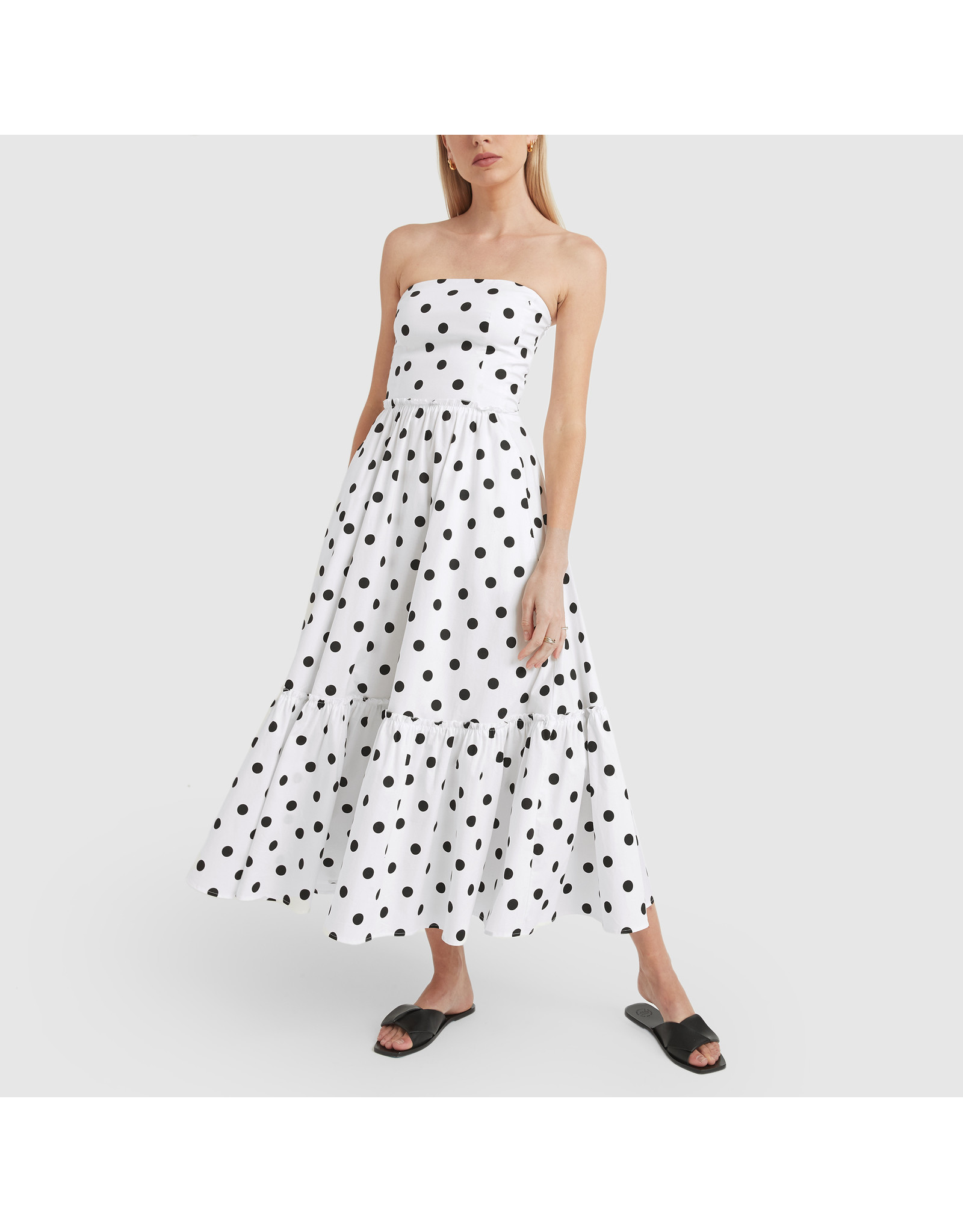 G. Label Zera Strapless Tiered Dress (Color: White & Black Dot Print, Size: 2)