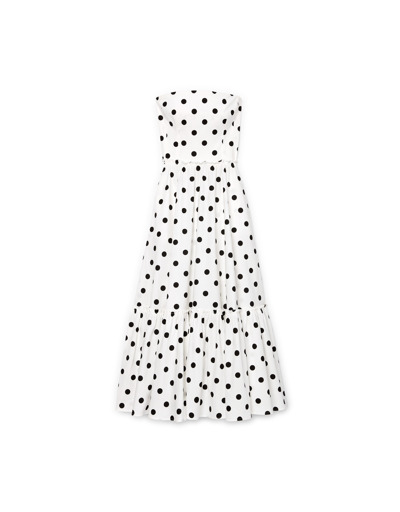 G. Label Zera Strapless Tiered Dress (Color: White & Black Dot Print, Size: 6)