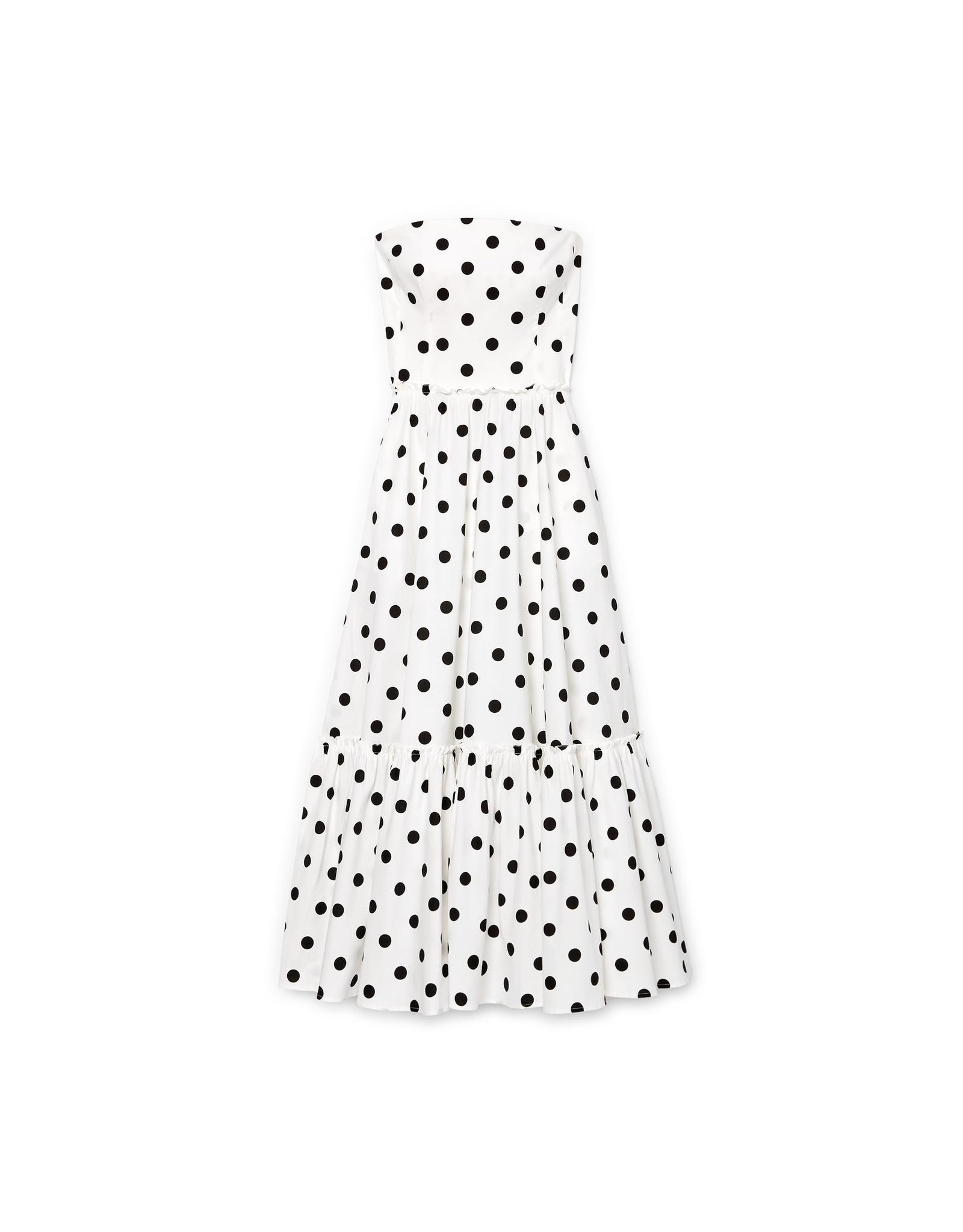 G. Label Zera Strapless Tiered Dress (Color: White & Black Dot Print, Size: 0)