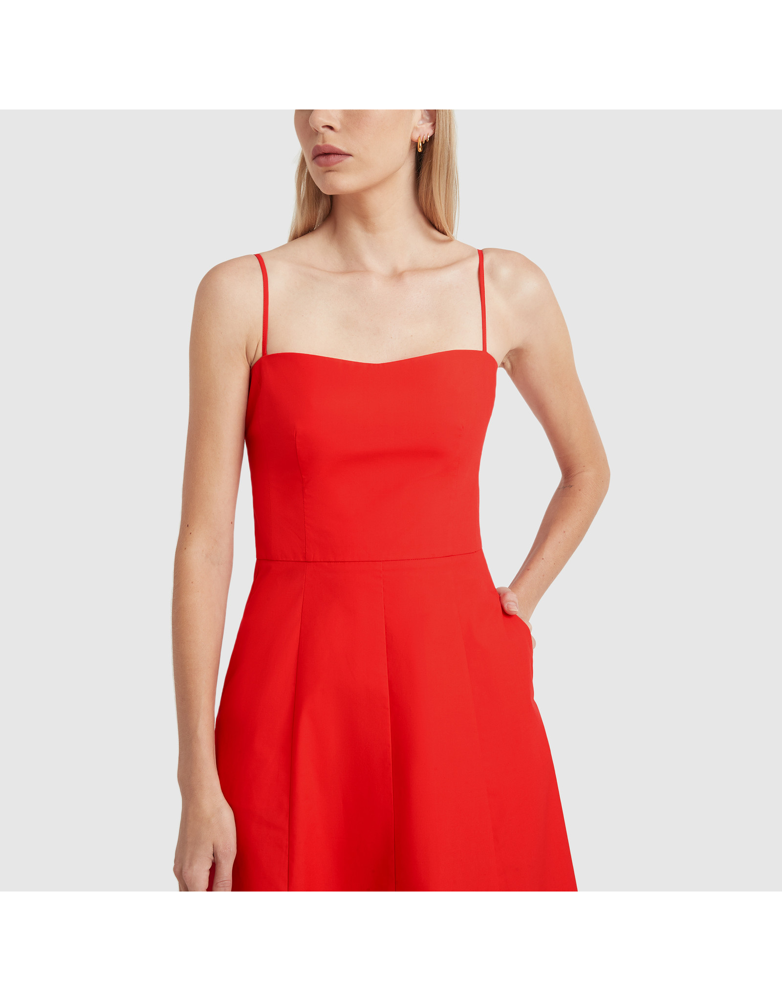 G. Label Cambria Skinny Strap Mid-Length dress (Color: Red, Size: 0)