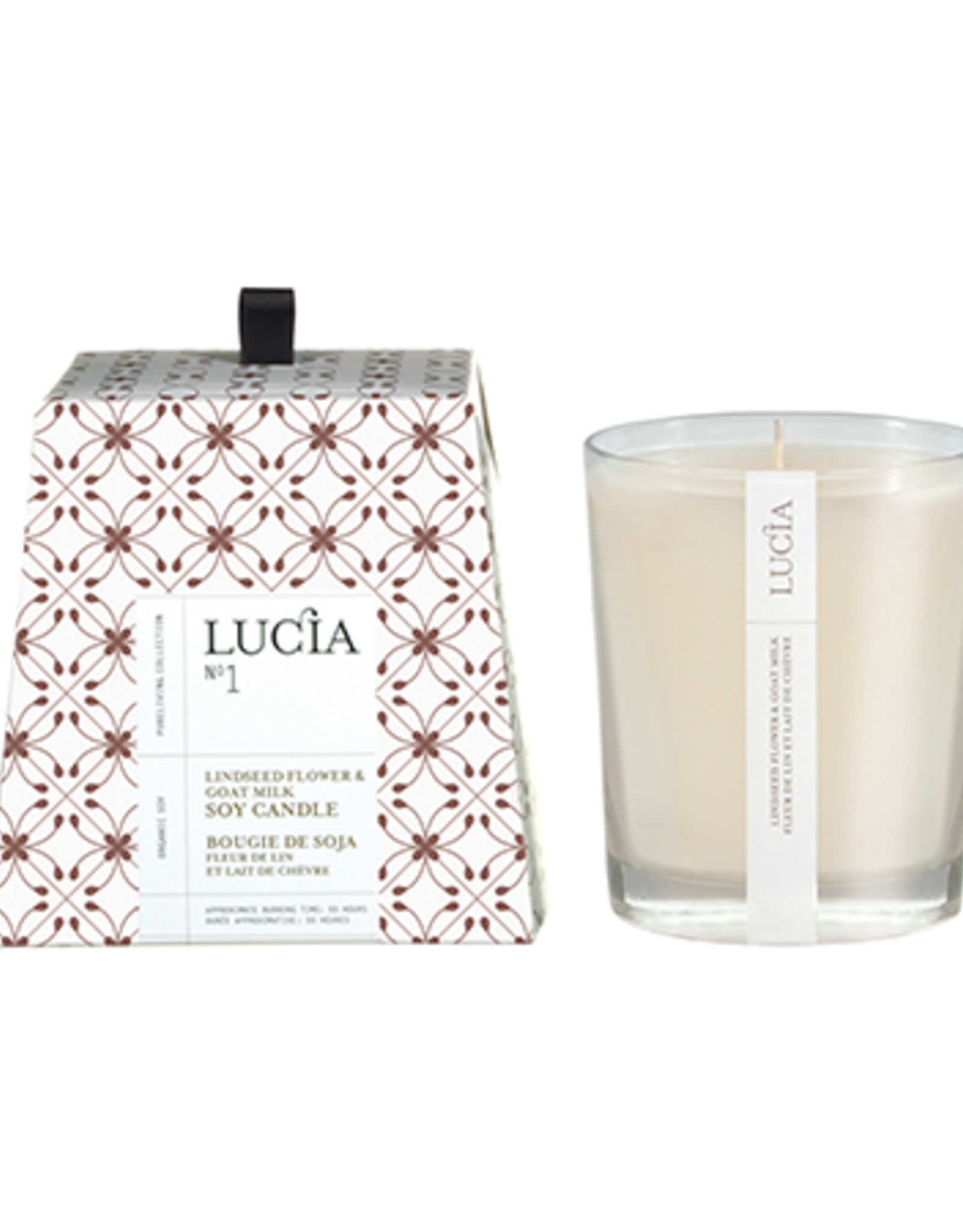 Lucia  par  Pure Living Grande bougie Fleur de lin et lait de chèvre 50hr