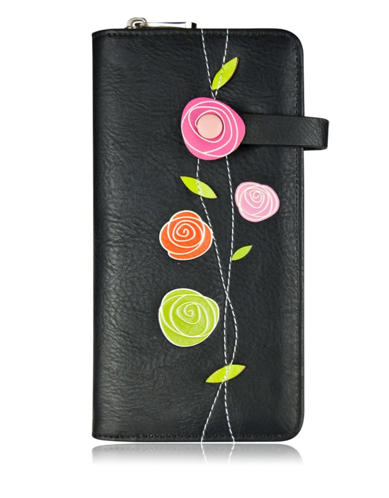ESPE Portefeuille clutch Roses noir