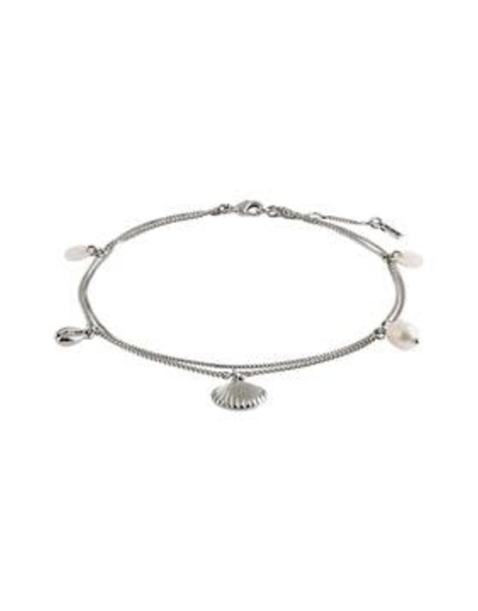 Pilgrim Bracelet cheville Silver love ( coquillage )