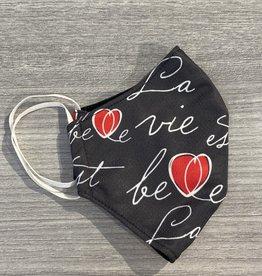 Autrement et Alors Masque - La vie est belle charcoal coeur rose