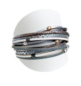 Caracol Bracelet de cuir gris - #3137