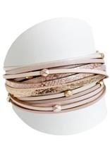 Caracol Bracelet de cuir Rosé   - #3137