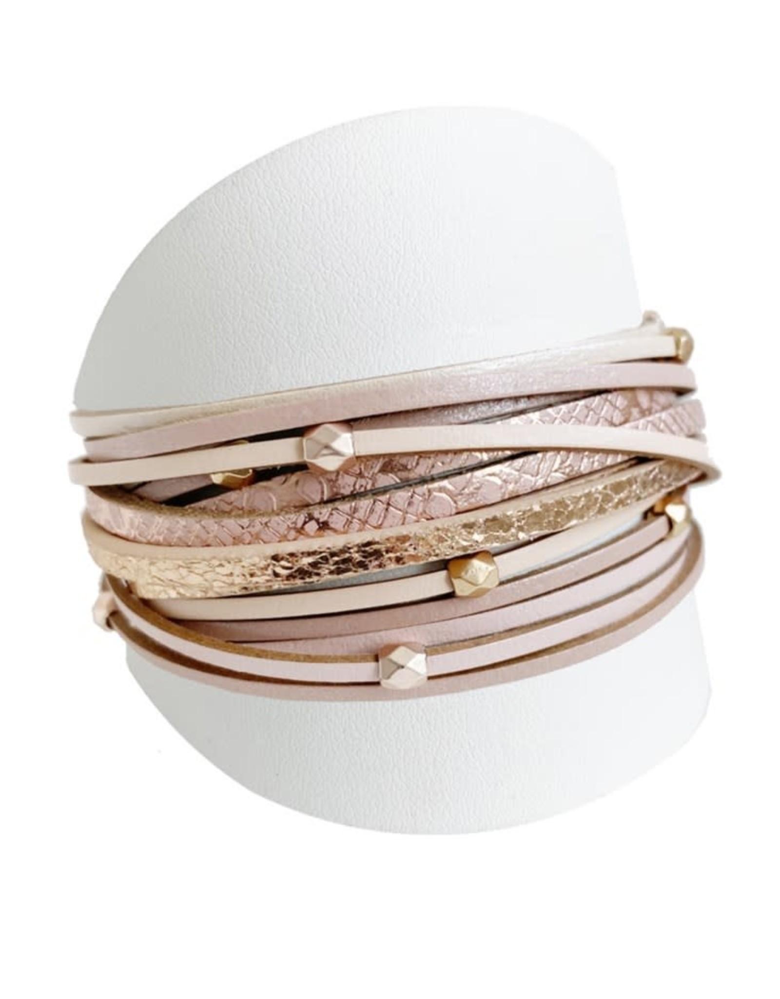 Caracol Bracelet de cuir Beige  - #3137