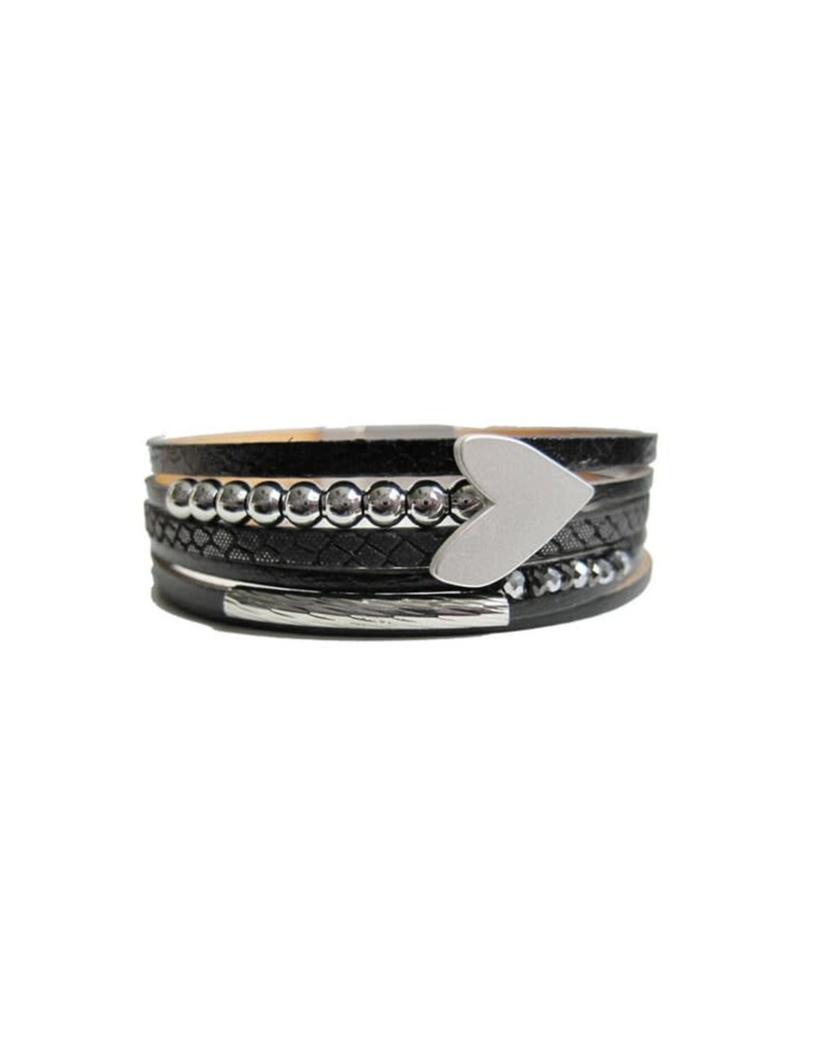 Caracol Bracelet cuir noir + coeur argent