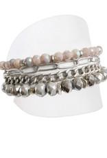 Caracol bracelet rose et gris # 3185