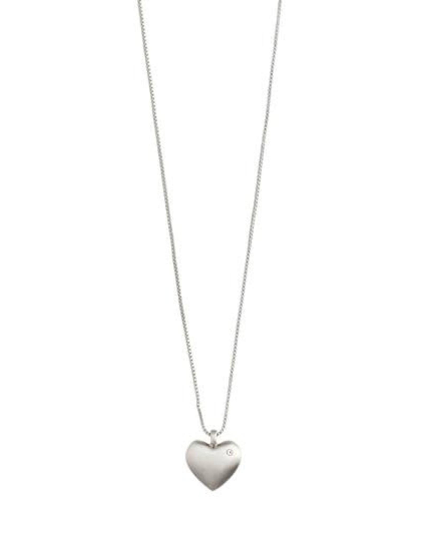 Pilgrim Collier  coeur+ brillant - argent