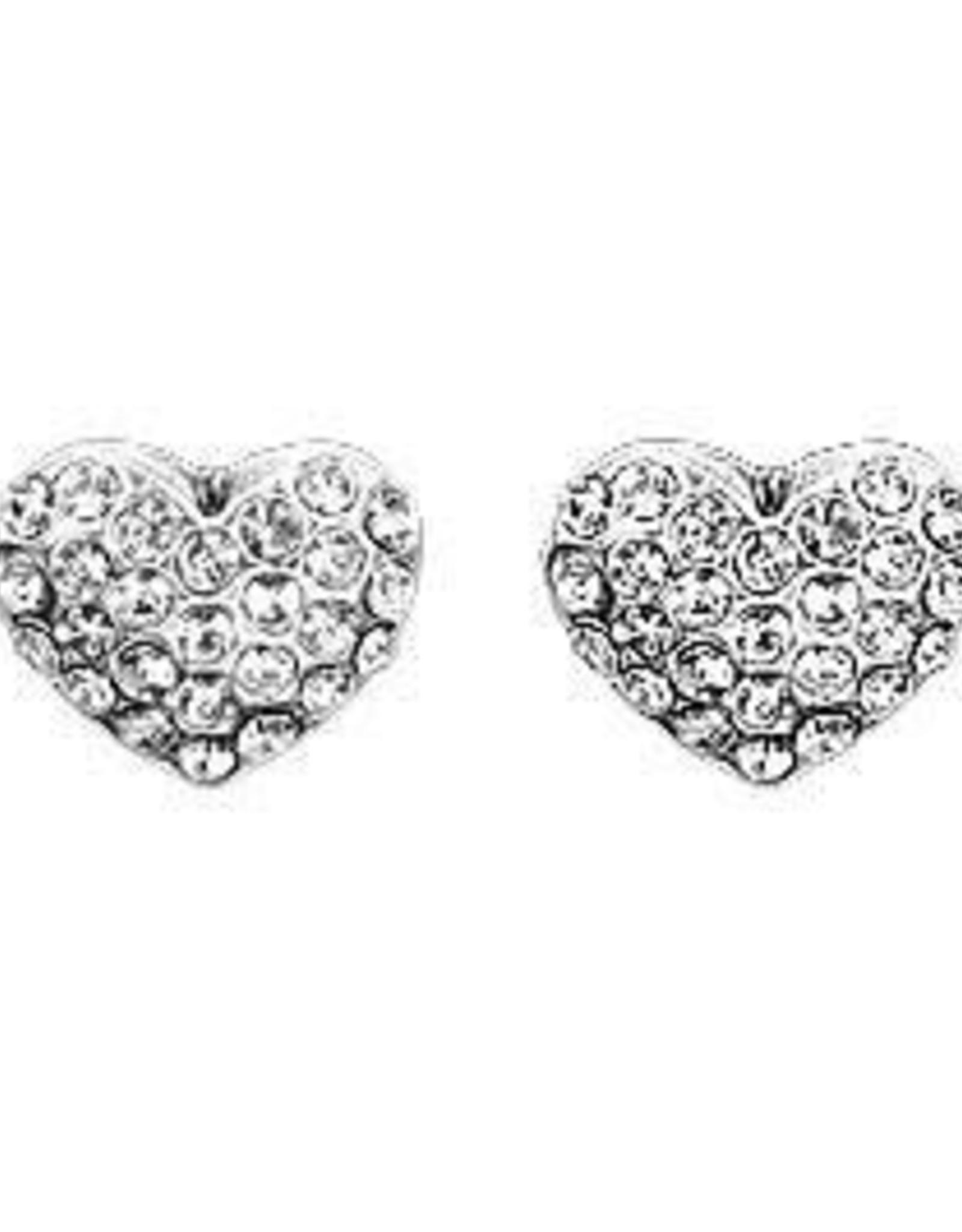 Pilgrim Bo stud coeur cristals - argent