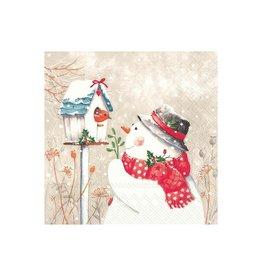 Petite Serv. Table Bonhomme de neige + oiseau