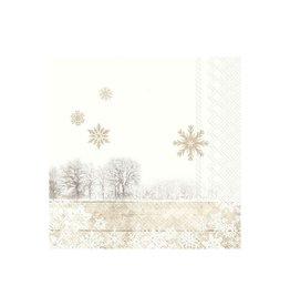Petite Serv. Table paysage blanc et Or