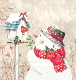 Serv. Table Bonhomme de neige + oiseau