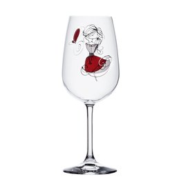Verre à vin fille rouge  - Bonheur