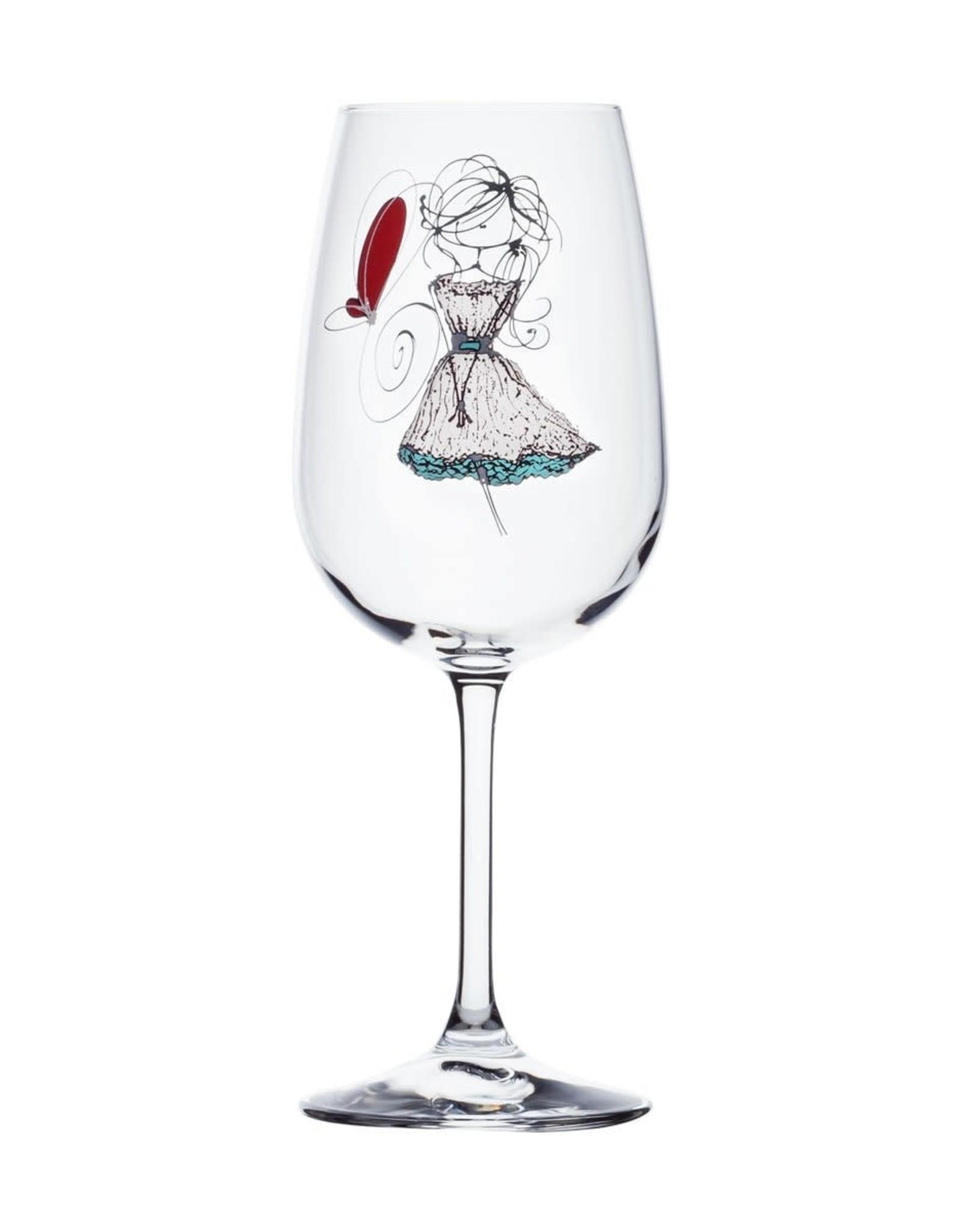 Bizzart & cie Verre à vin  robe blanche  - Bonheur