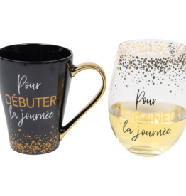Chantal Lacroix Ensemble tasse et verre vin  - Journée